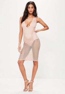 Pink Fishnet Plunge Sleeveless Midi Dress