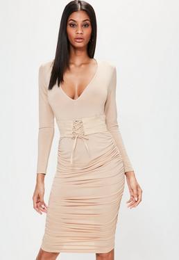Nude Plunge Corset Belt Ruched Tie Side Dress