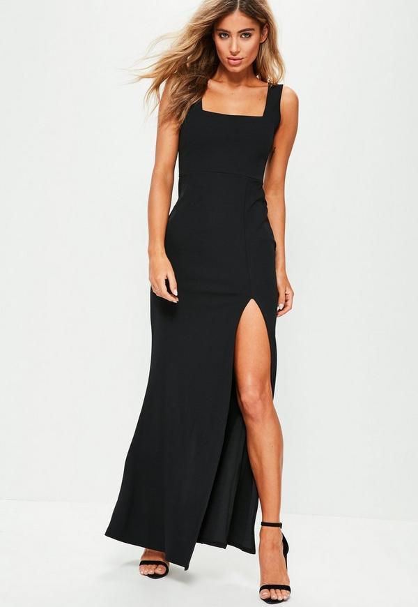 robe longue noire avec col carr et coupe fendue missguided. Black Bedroom Furniture Sets. Home Design Ideas
