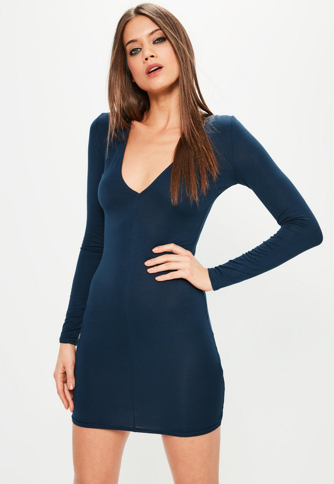 Navy Plunge Long Sleeve Bodycon Dress | Missguided