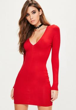 Red Plunge Long Sleeve Bodycon Dress