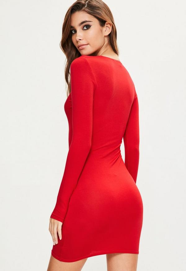 Uk dress sleeve long bodycon red online