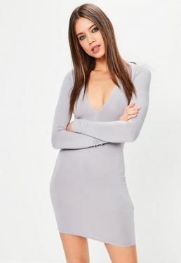 Grey Plunge Long Sleeve Bodycon Dress