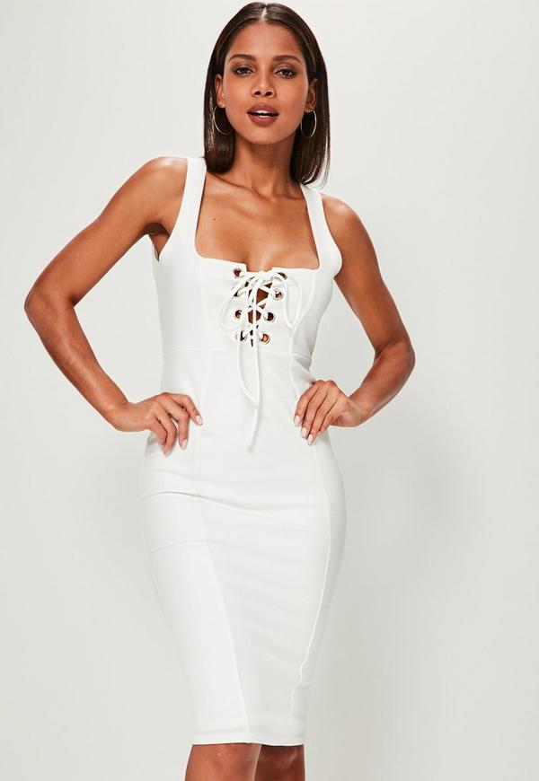 White Strappy Lace Up Front Midi Dress