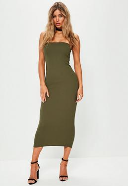 Khaki Bandeau Ankle Grazer Maxi Dress