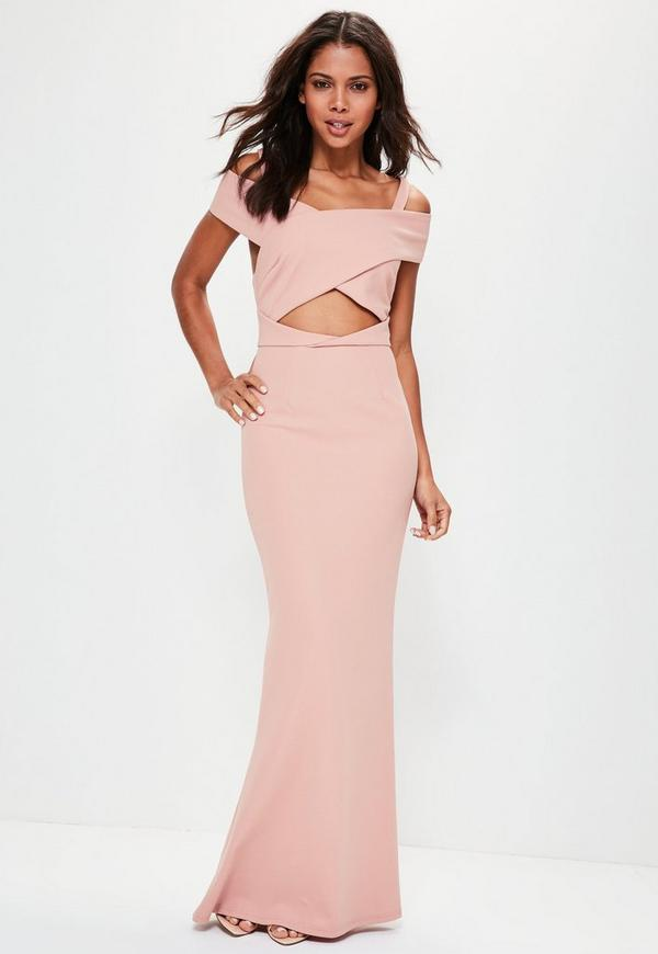 Pink Crepe Bardot Strap Detail Maxi Dress