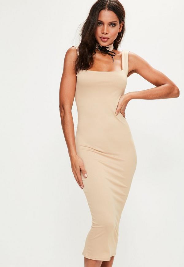 Nude Lace Up Choker Square Neck Midi Dress