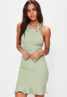 Green Halterneck Eyelet Detail Frill Hem Dress
