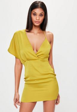 Chartreuse Yellow Contrast Shoulder Strap Midi Dress