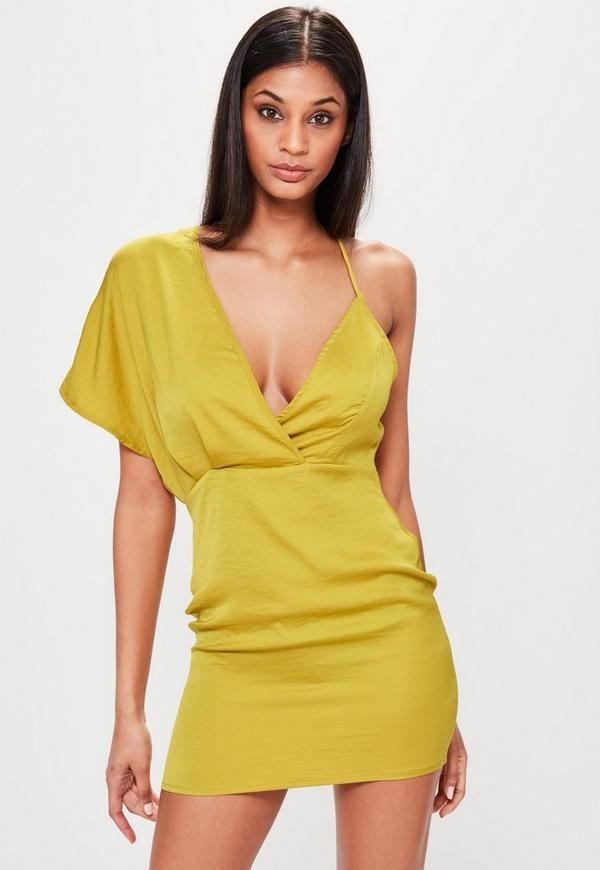 Chartreuse Yellow Contrast Shoulder Strap Mini Dress
