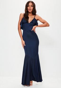 Granatowa sukienka maxi na ramiączkach z falbanami
