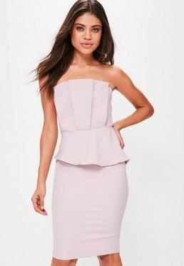 Nude Strapless Pleated Front Bodycon Dress