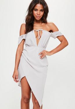 Grey Bardot Wrap Asymmetric Shift Dress