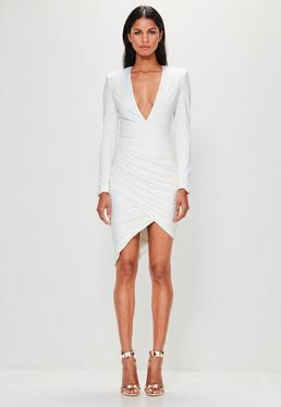 Peace + Love White Plunge Ruched Assymetric Hem Midi Dress