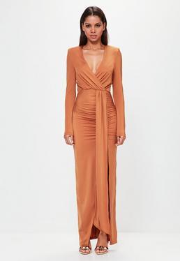 Peace + Love Pomarańczowa zawijana sukienka maxi z długimi rękawami