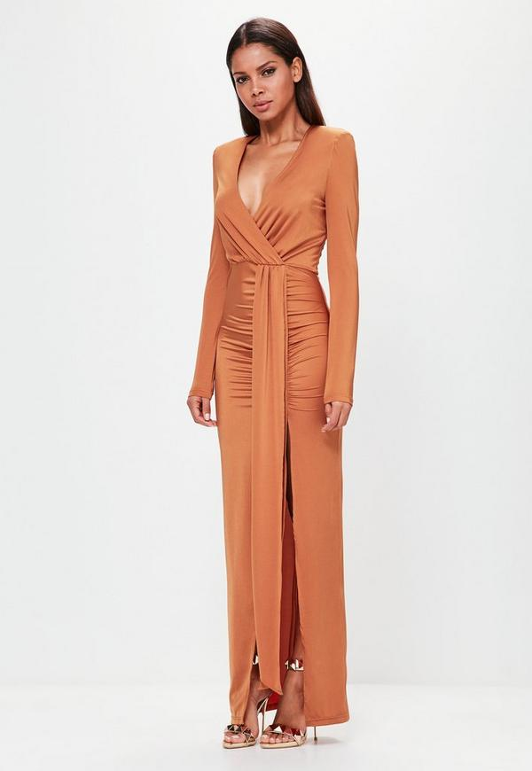 Peace   Love Orange Long Sleeve Wrap Maxi Dress | Missguided