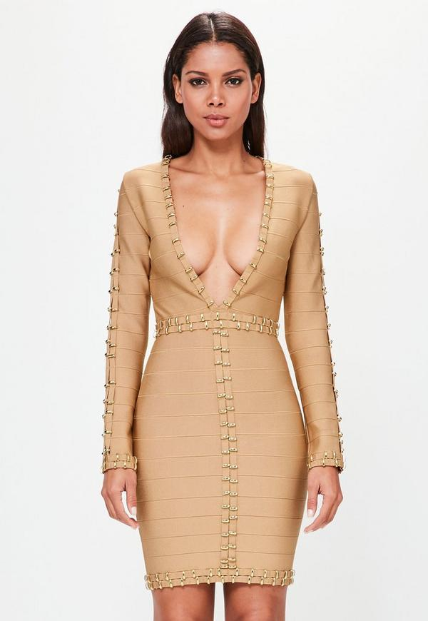 Peace + Love Nude Gold Ring Detail Bandage Dress