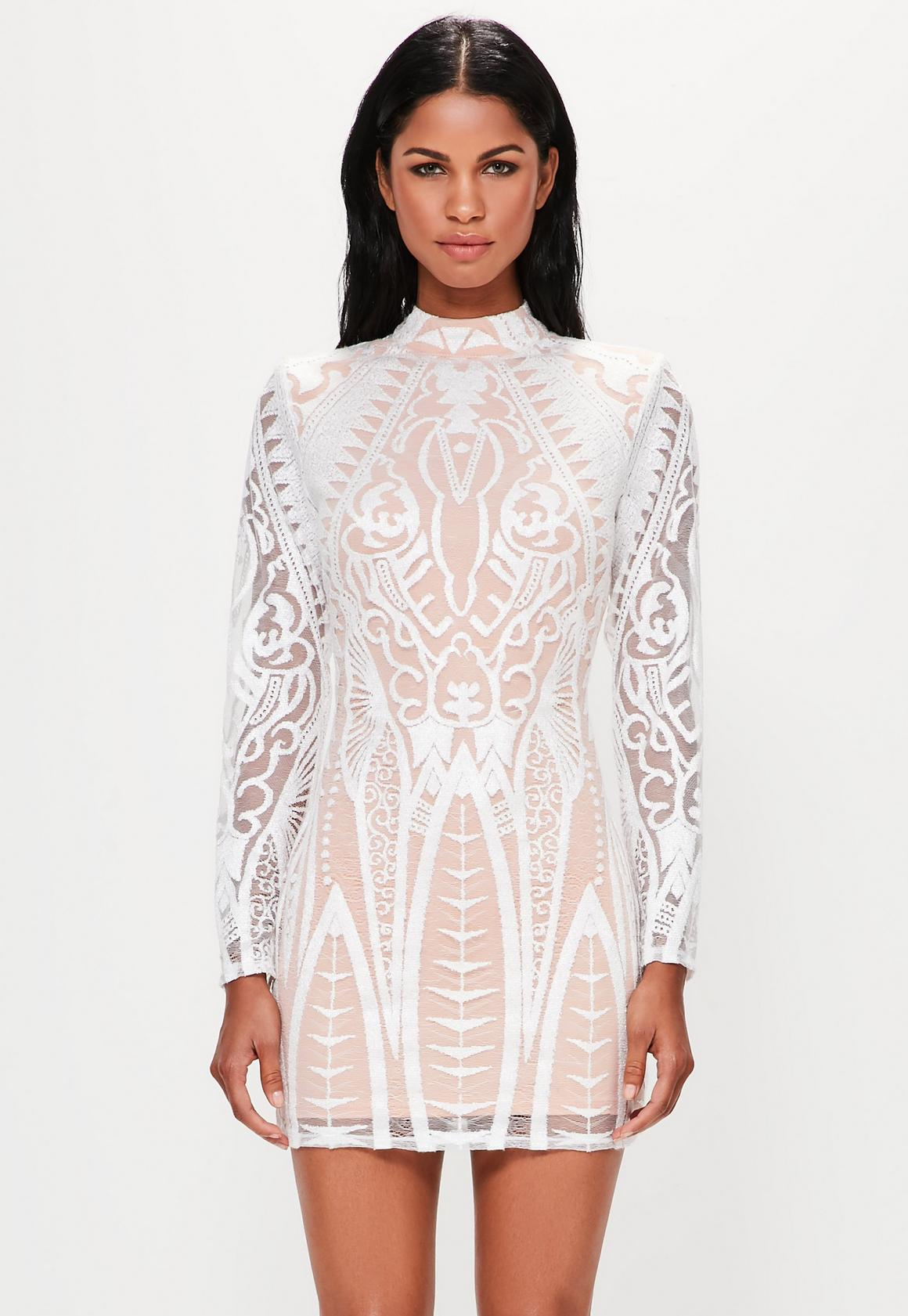 Peace   Love White Placed Lace High Neck Mini Dress | Missguided