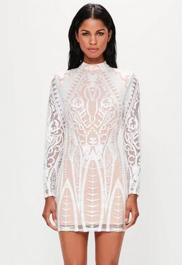 Peace + Love White Placed Lace High Neck Mini Dress