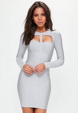 Grey Bandage Cut Out Bodycon Dress