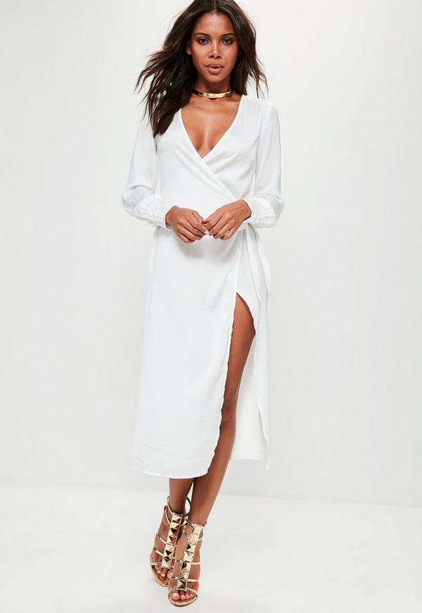 White Hammered Satin Deep Cuff Wrap Maxi Dress