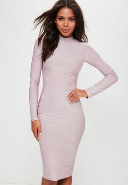 Lilac Slinky High Neck Bodycon Midi Dress