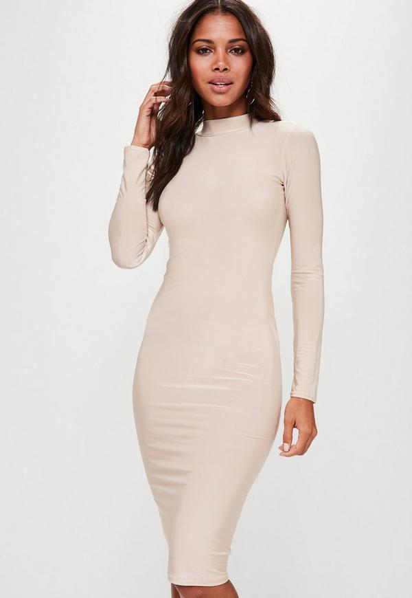 Nude Slinky High Neck Bodycon Dress