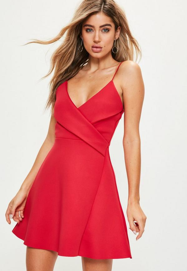 Red Strappy Wrap Scuba Skater Dress