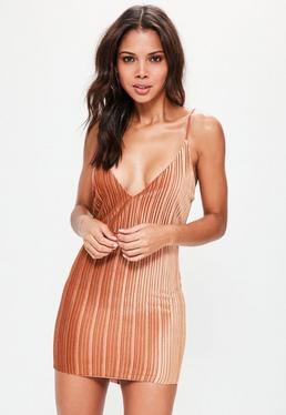 Orange Pleated Velvet Strappy Bodycon Dress