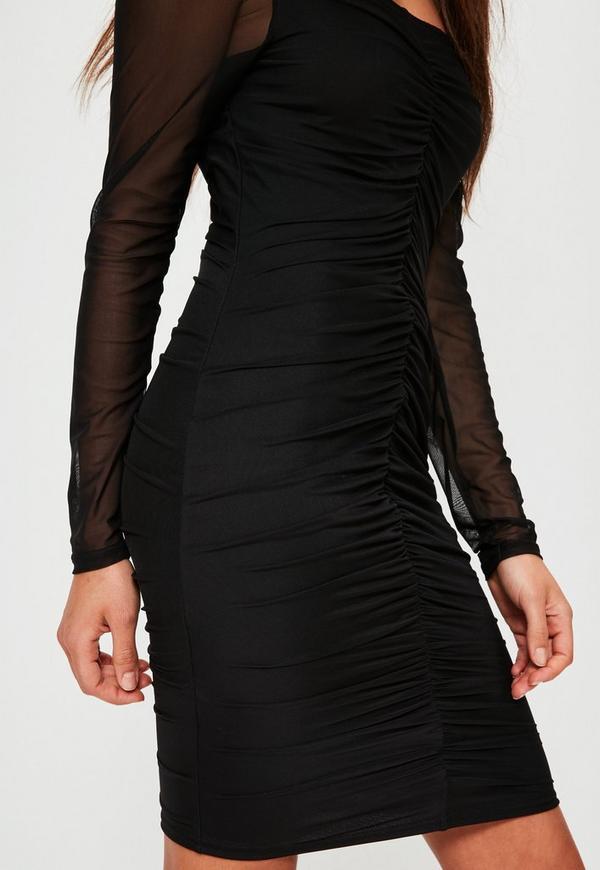 Black Bardot Ruched Mesh Long Sleeve Dress Missguided
