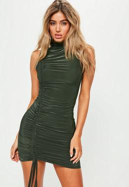 Green High Neck Sleeveless Ruched Side Detail Dress