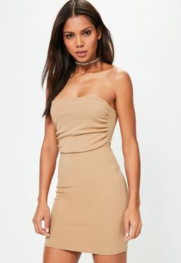 Camel Bandeau Ruched Top Bodycon Dress