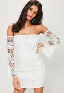 White Lace Bardot Flared Sleeve Bodycon Dress