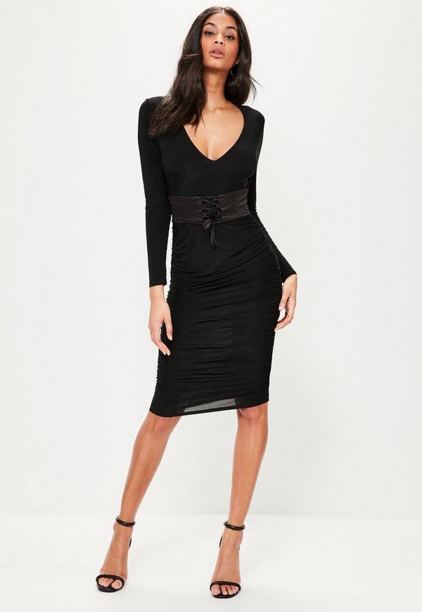 black plunge corset belt ruched tie side dress missguided