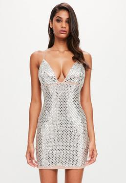 Peace + Love Vestido corto con bordado de espejos en plateado