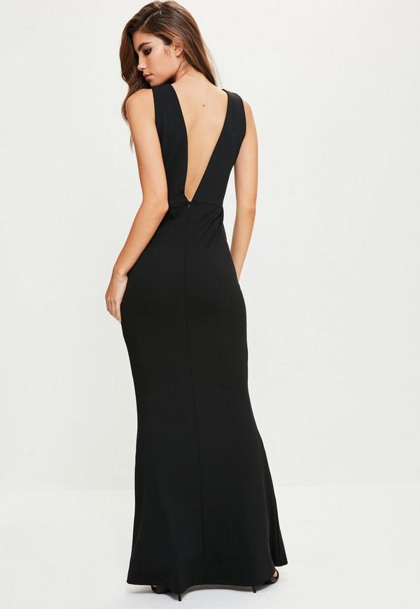 robe longue noire dos chancr missguided. Black Bedroom Furniture Sets. Home Design Ideas