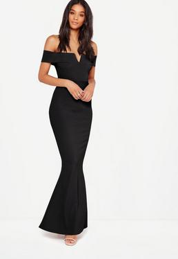 Black Bardot Crepe V Plunge Maxi Dress