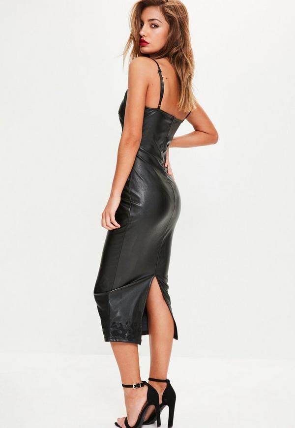 Black Faux Leather Eyelet Detail Midi Dress Missguided
