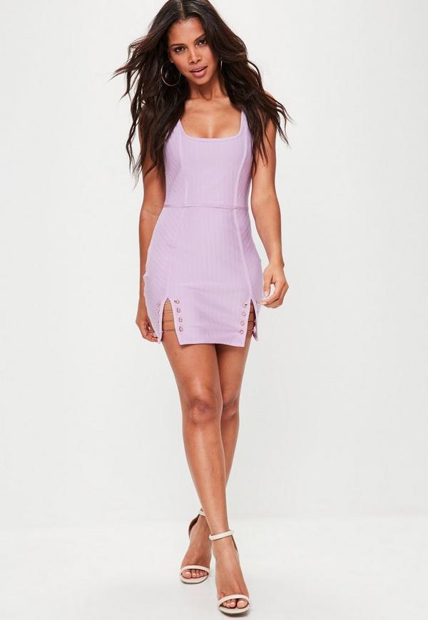Lilac Strappy Bar Detail Bandage Dress