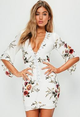 White Floral Print Lace Up Flared Sleeve Dress