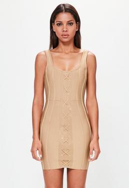 Peace + Love Bandage-Kleid mit Kreuzleiste in Goldbraun