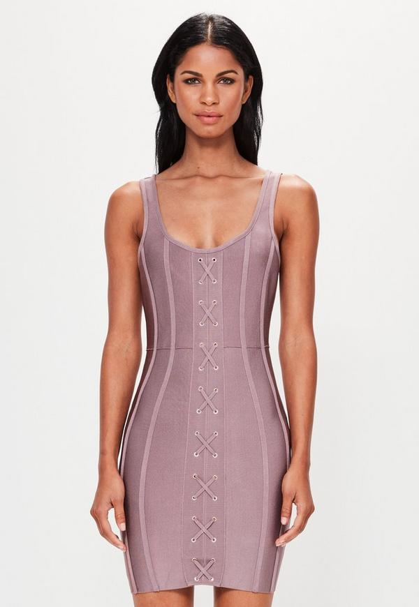 Peace + Love Pink Strappy Criss Cross Front Bandage Dress