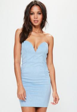 Blue Faux Suede Sweetheart Bandeau Mini Dress