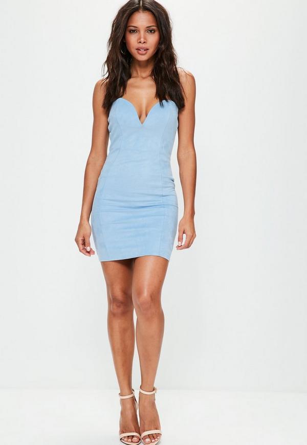 Blue Faux Suede Sweetheart Bandeau Mini Dress