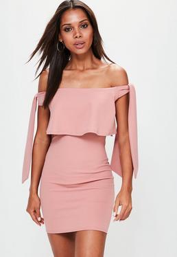 Pink Bardot Tie Shoulder Frill Bodycon Dress