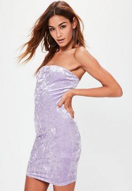 Vestido ajustado palabra de honor en terciopelo lila