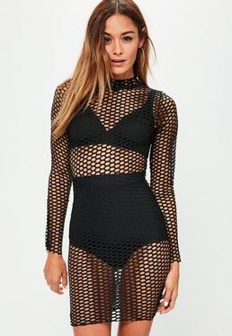 Black Fishnet High Neck Long Sleeve Bodycon Dress