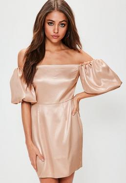 Bronze Puff Sleeve Bodycon Dress