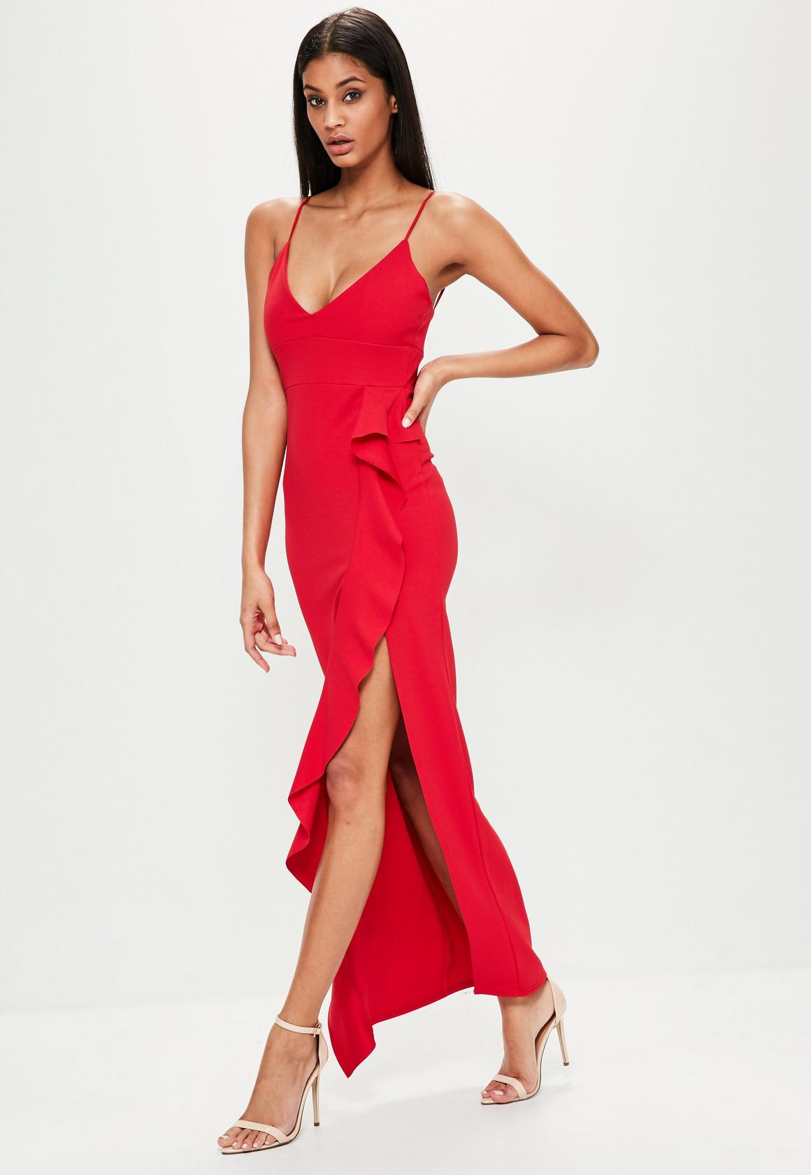 Red Frill Front Cami Maxi Dress | Missguided