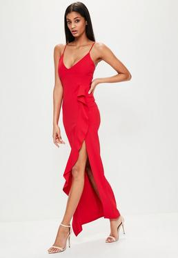 Red Frill Front Cami Maxi Dress